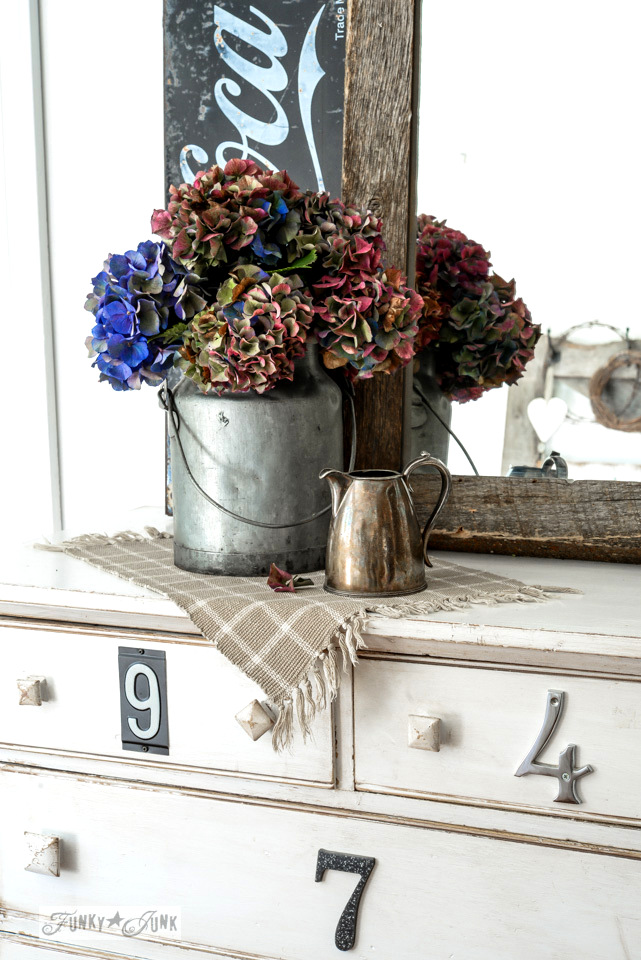 fall hydrangeas in a milk bucket for a dresser vignette / funkyjunkinteriors.net