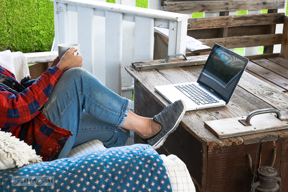 sitting on a patio with coffee and laptop / funkyjunkinteriors.net