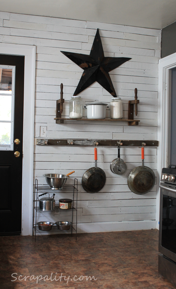 Pots and pans ladder storage, by Scrapality, featured on Funky Junk Interiors