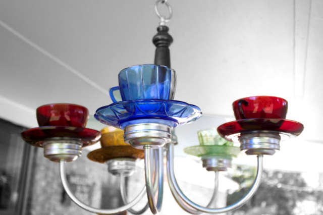 Teacup chandelier, by The B Farm, featured on Funky Junk Interiors
