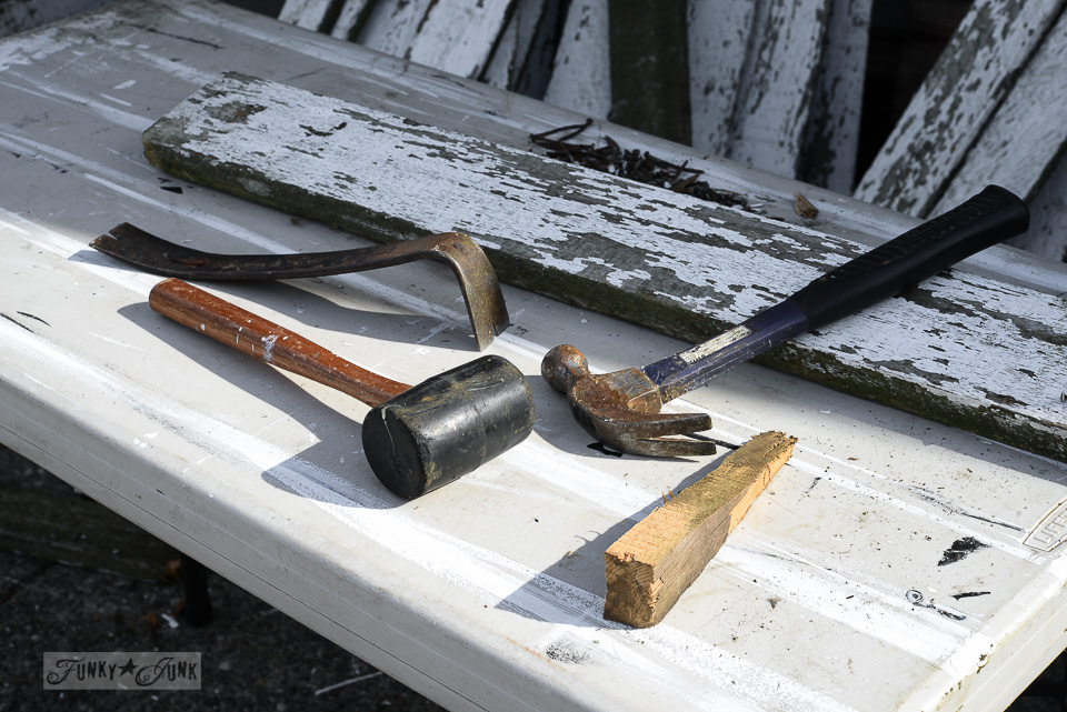 tools used to take fence boards apart / funkyjunkinteriors.net