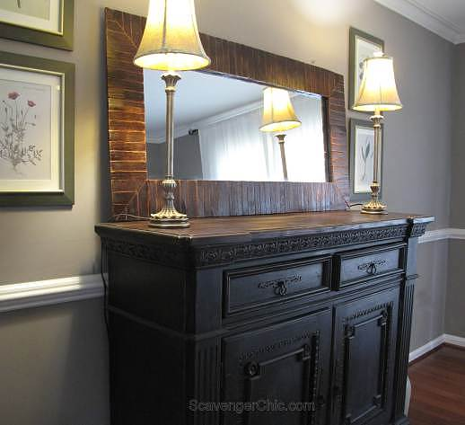 Pallet wood mirror frame, by Scavenger Chic, featured on Funky Junk Interiors