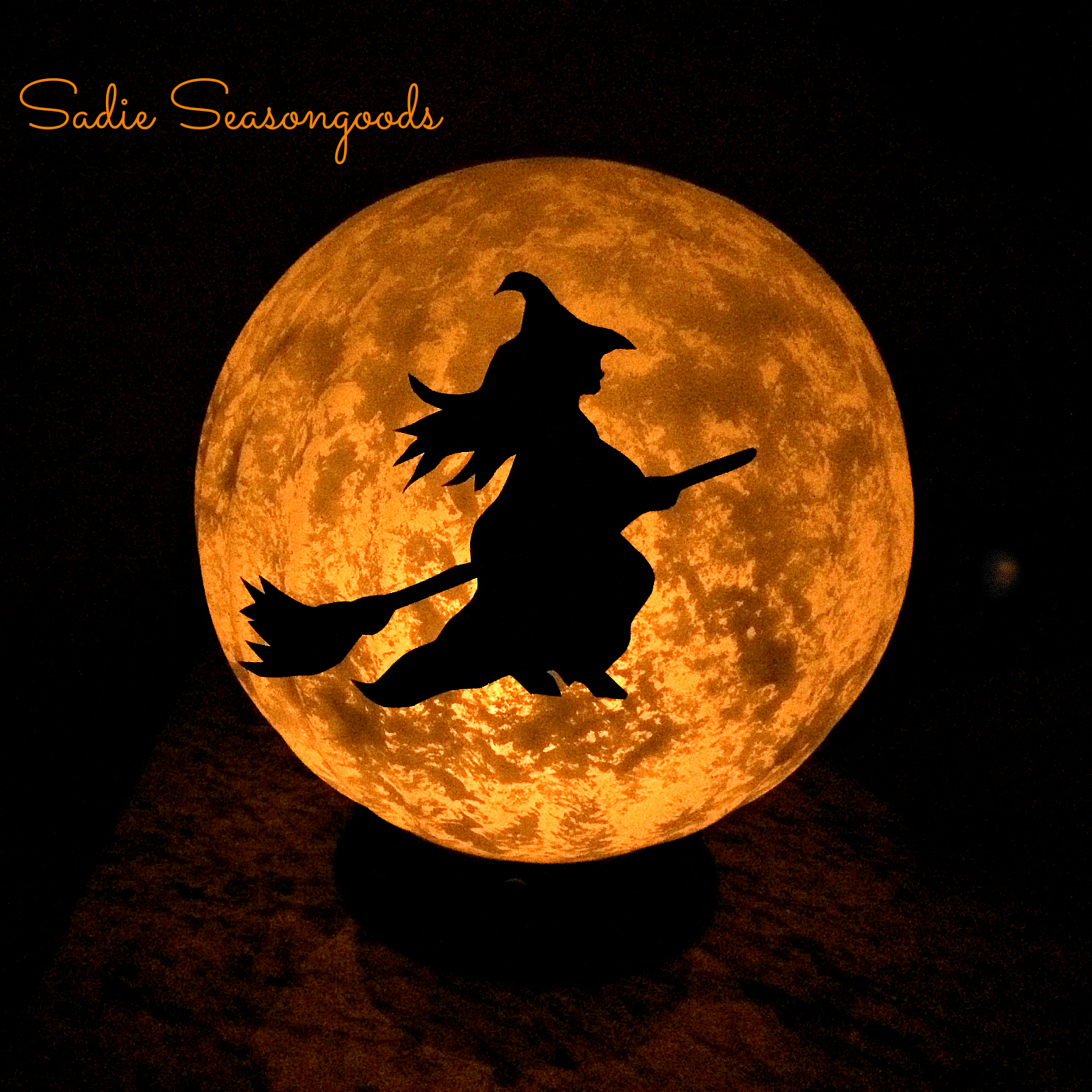 Vintage Light Fixture Halloween Moon, by Sadie Seasongoods, featured on Funky Junk Interiors