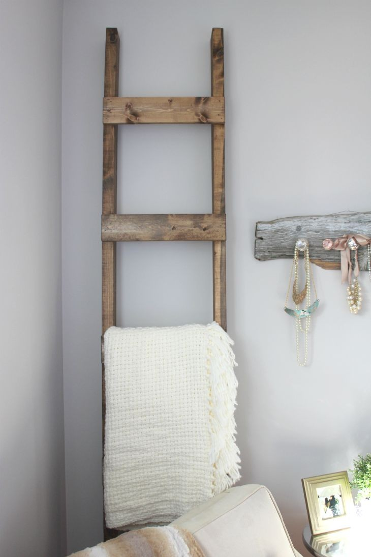 30 Minute DIY Blanket Ladder, by AKA Design, featured on Funky Junk Interiors