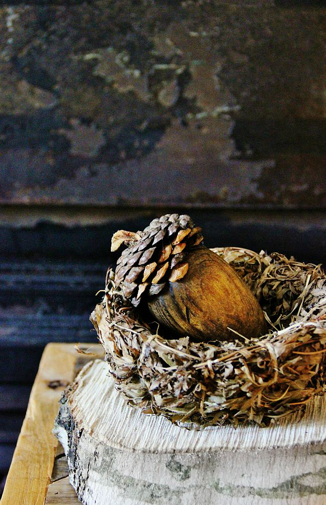 DIY pinecone acorn, by Thistlewood Farms, featured on Funky Junk Interiors