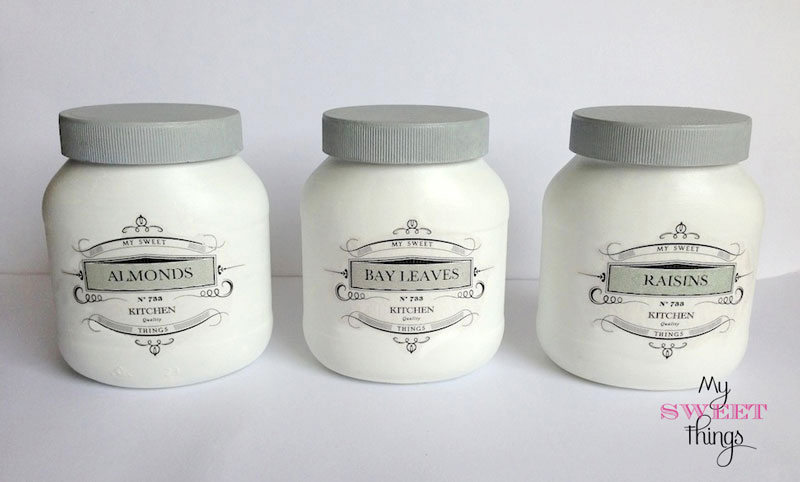 Pantry storage jars from plastic bottles, by My Sweet Things, featured on Funky Junk Interiors