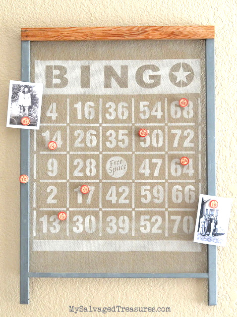 A stencilled BINGO window screen magnetic board, by My Salvaged Treasures, featured on Funky Junk Interiors