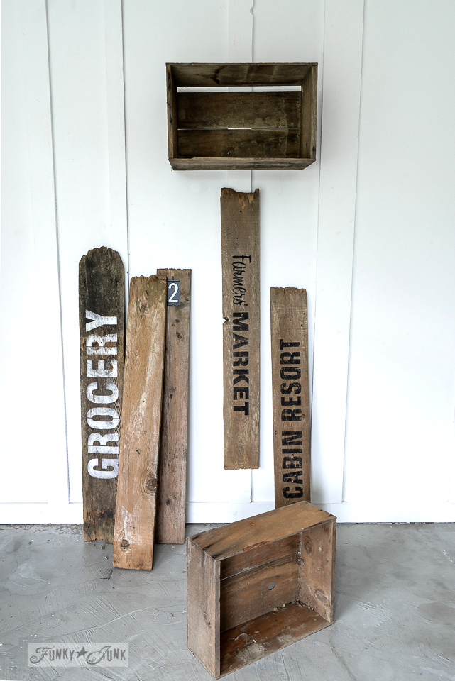 Old signs with rustic crates mini entryway made with Funky Junk's Old Sign Stencils / funkyjunkinteriors.net