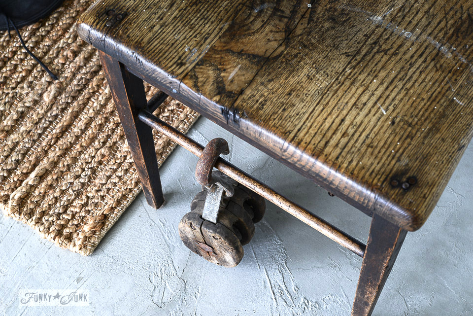Rustic pulley hanging from a wooden entry chair / funkyjunkinteriors.net