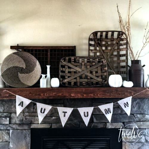 Farmhouse styled mantel, by Twelve on Main, featured on Funky Junk Interiors
