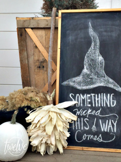 DIY CORN HUSK WITCHES BROOM by Twelve on Main, featured on Funky Junk Interiors