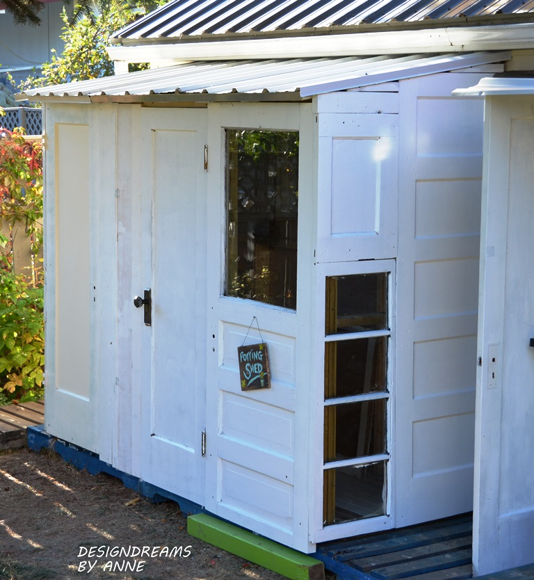 Building a Shed with Old Doors by Design Dreams By Anne, featured on Funky Junk Interiors