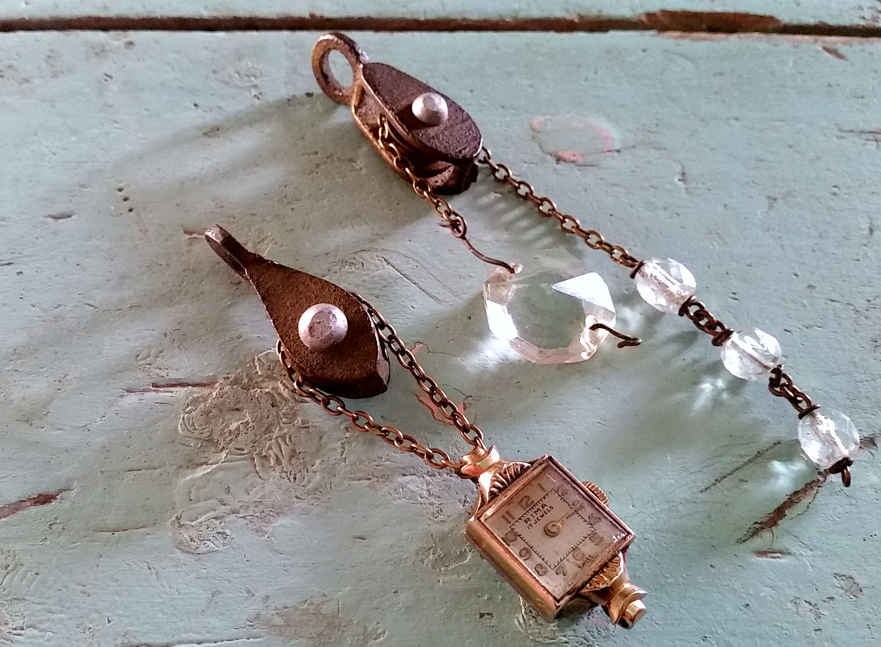Pulley Pendants, by Sadie Seasongoods, featured on Funky Junk Interiors