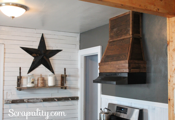 Rustic Style Kitchen Range Hood by Scrapality, featured on Funky Junk Interiors