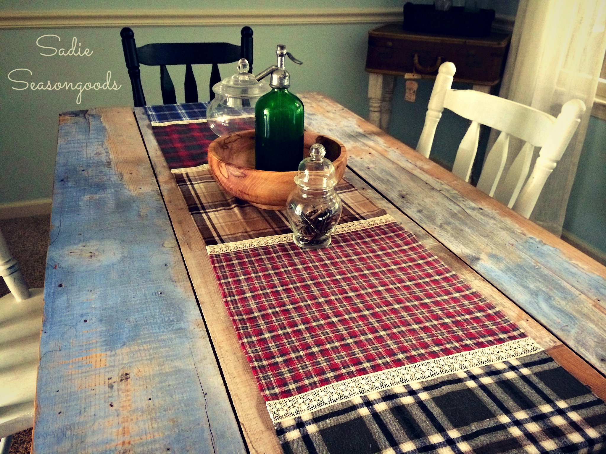 Fall Flannel (Shirt) and Lace Table Runner by Sadie Seasongoods, featured on Funky Junk Interiors