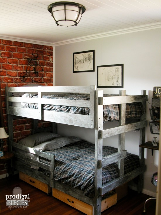 VINTAGE INDUSTRIAL TEEN BOYS' ROOM REVEAL by Prodigal Pieces, featured on Funky Junk Interiors