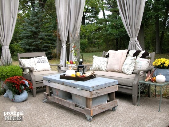 An upcycled patio reveal, by Prodigal Pieces, featured on Funky Junk Interiors