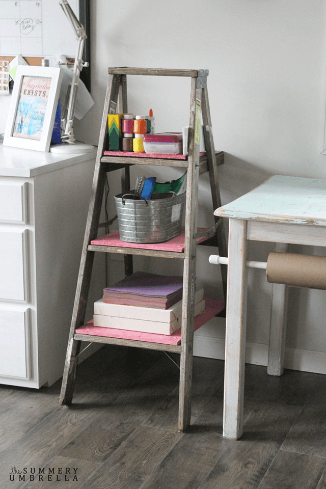 Arts and crafts stepladder storage, by The Summery Umbrella, featured on Funky Junk Interiors