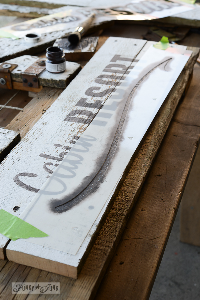 Adding a swoosh stencil / Cozy fall mantel Cabin Resort sign / funkyjunkinteriors.net
