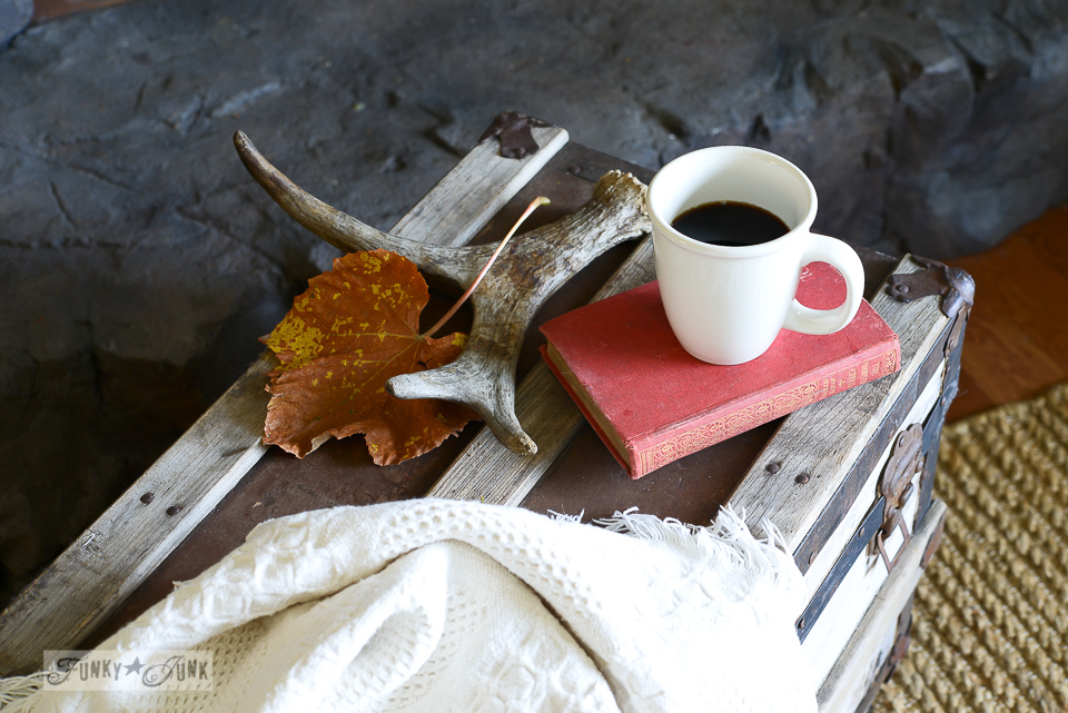 Fall decorating with antler on a coffee table trunk / funkyjunkinteriors.net