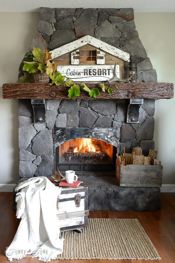 Illuminated Cabin Resort mantel sign for fall made with Funky Junk's Old Sign Stencils | funkyjunkinteriors.net