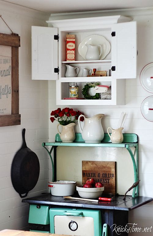 Recycled farmhouse cabinet, by Knick of Time, featured on Funky Junk Interiors