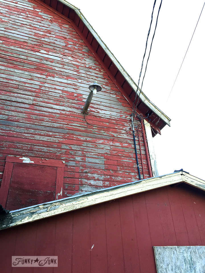 chippy red barn paint, part of a major farmhouse reno / funkyjunkinteriors.net