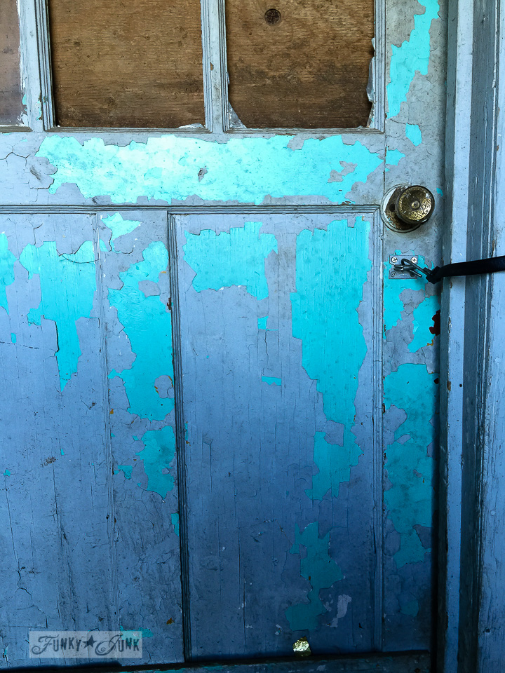 chippy blue and aqua barn door, part of a major farmhouse reno / funkyjunkinteriors.net