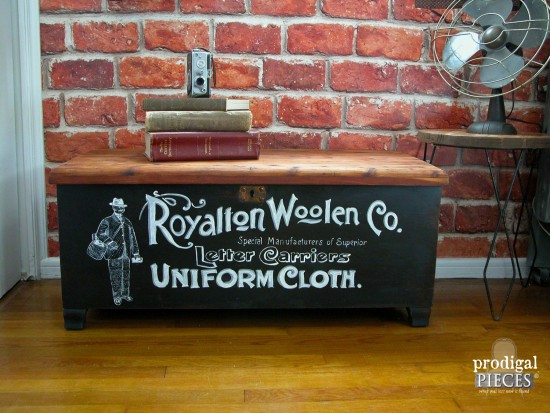 VINTAGE TYPOGRAPHY ACME CEDAR CHEST by Prodigal Pieces, featured on Funky Junk Interiors