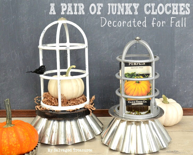 Light cover and fluted pan cloches, by My Salvaged Treasures, featured on Funky Junk Interiors