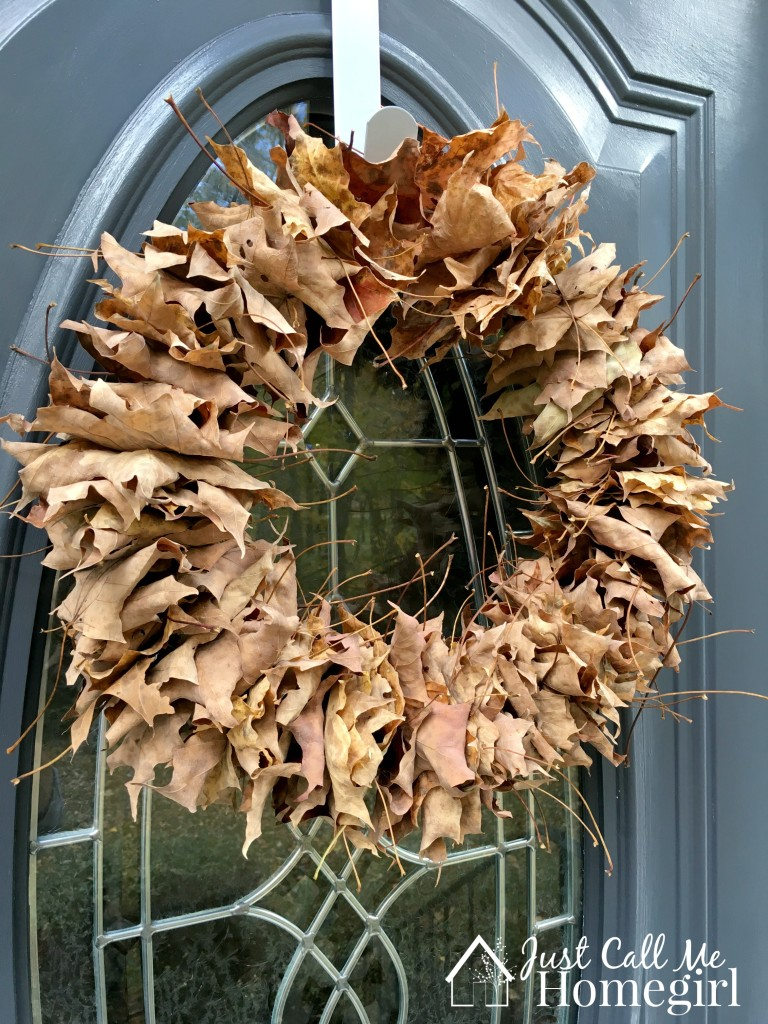 Easy Fall Leaf Wreath by Just Call Me Homegirl, featured on Funky Junk Interiors
