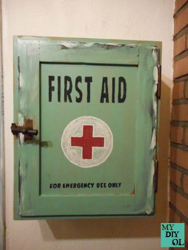 First Aid cupboard redo, by my DIY OL, featured on Funky Junk Interiors