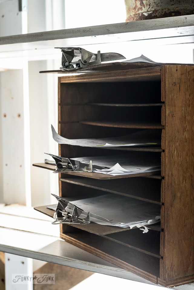 rustic file sorter with paperwork clipboards / part of Pyjama productivity. Why does it work? / story on funkyjunkinteriors.net