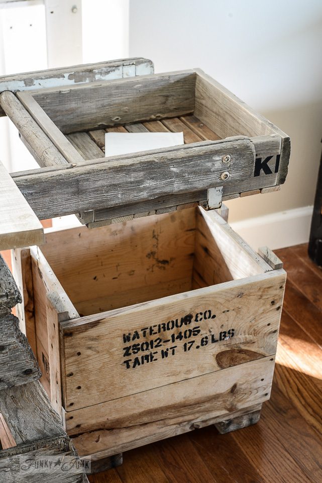 Old reclaimed wood crates used for office file storage / funkyjunkinteriors.net
