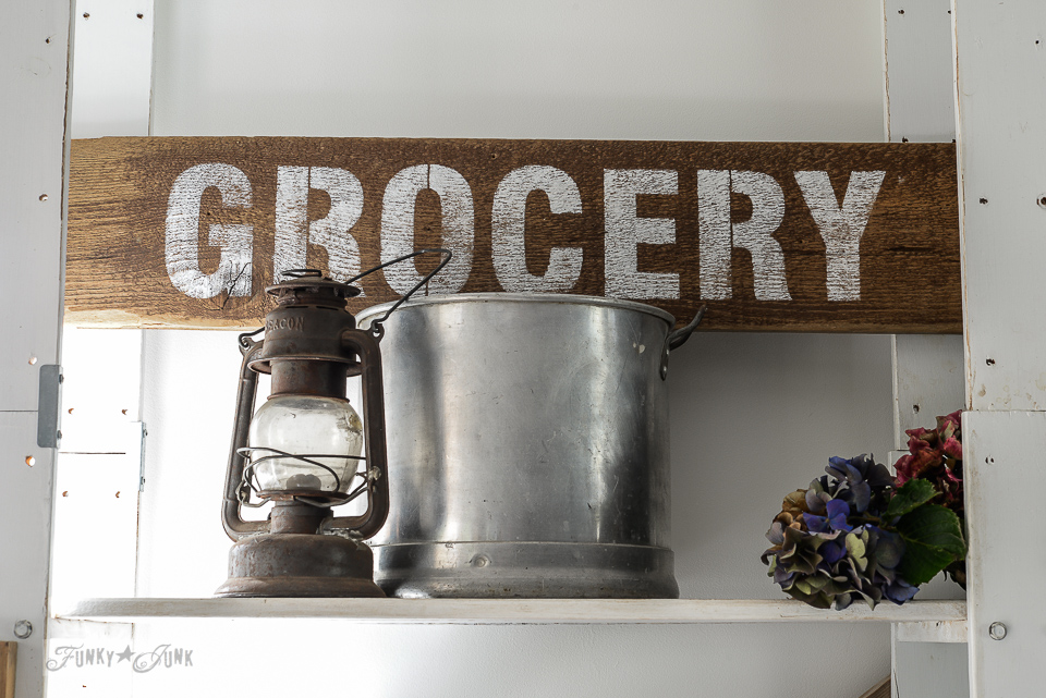 Reproduction GROCERY sign from Funky Junk's Old Sign Stencils and kitchen pot for office storage in an office / funkyjunkinteriors.net
