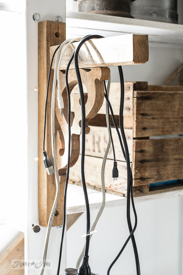 Wooden corbel to hold computer wires in an office / funkyjunkinteriors.net