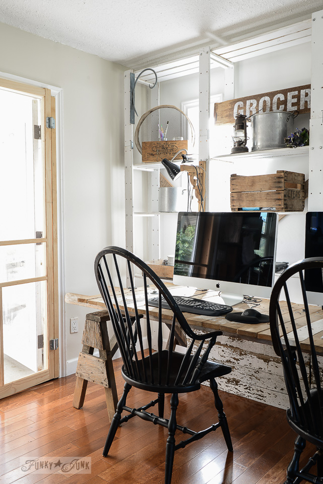 Pallet wood sawhorse blog office desk, with open shelving | funkyjunkinteriors.net
