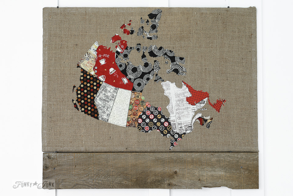 Quilted fabric Canadian map message centre sewn by The Little Green Bean / funkyjunkinteriors.net
