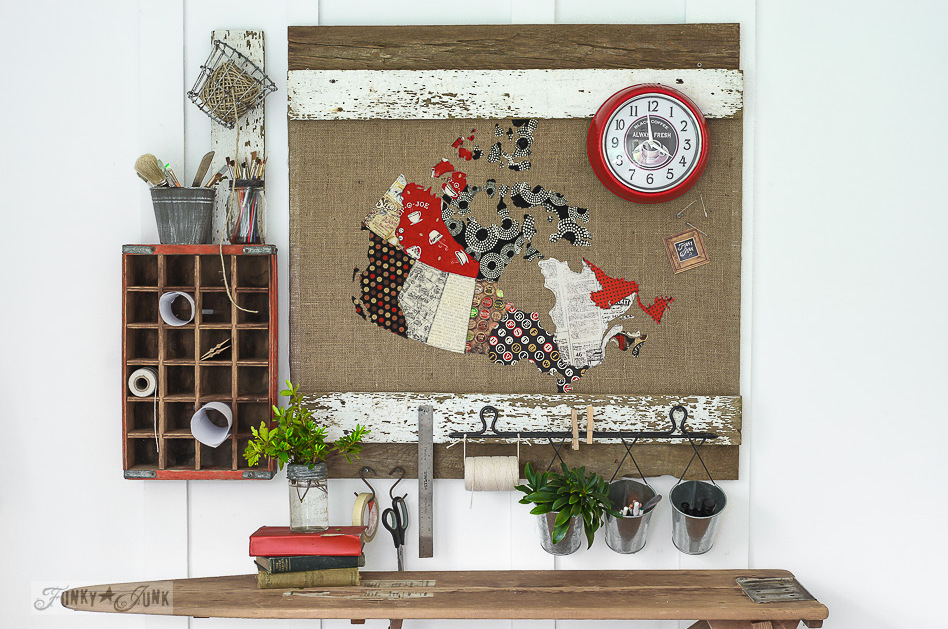 patchwork Canadian map message centre Funky Junk Interiors-011