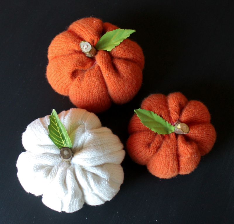 Wool sweater pumpkins, by Adirondack Girl at Heart, featured on Funky Junk Interiors