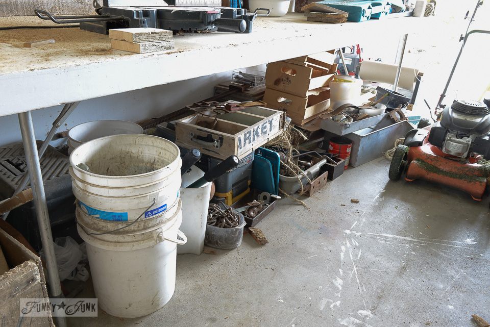 time to organize this messy workshop! / funkyjunkinteriors.net