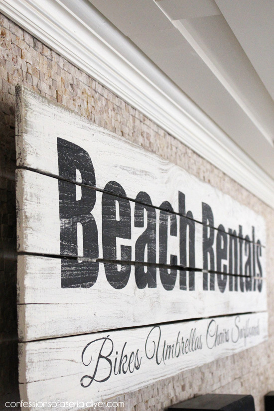 Turn an Old Fence into a Vintage Beach Rentals Sign, by Confessions of a Serial Do It Yourselfer, featured on Funky Junk Interiors