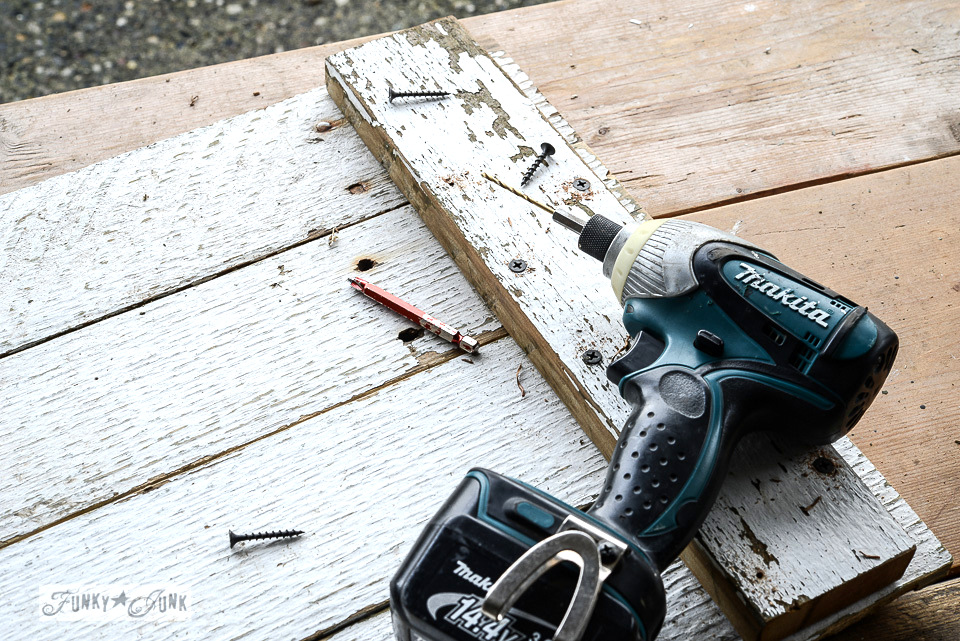 assembling a reclaimed wood tray with a makita cordless drill / funkyjunkinteriors.net