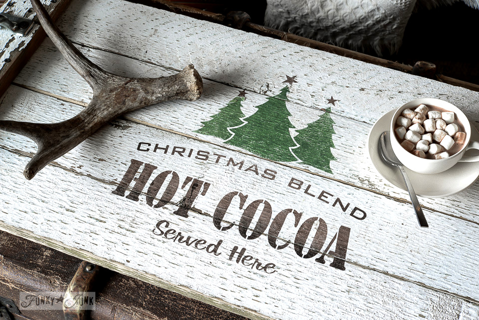 Christmas Blend Hot Cocoa Served Here on a white reclaimed wood tray with antler decor / Funky Junk's Old Sign Stencils