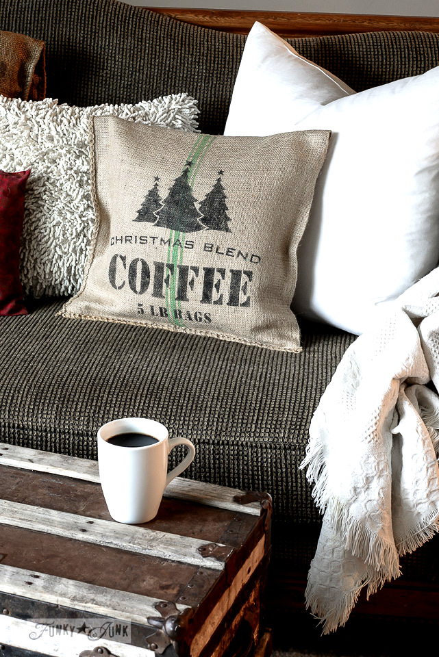 Learn how to make a Christmas themed grain sack coffee pillow instantly with a sand bag and Funky Junk's Old Sign Stencils