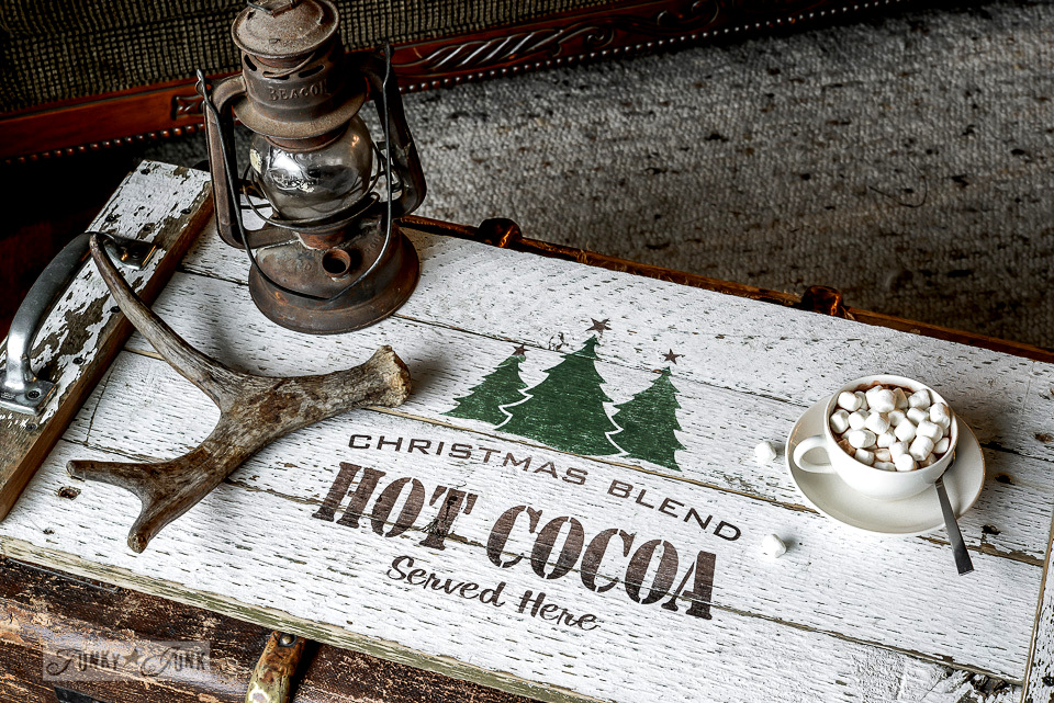 Reclaimed wood hot cocoa tray with a cool lettering trick