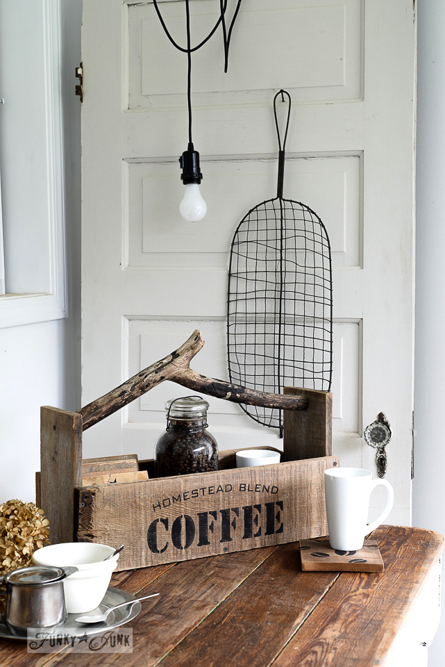 Learn how to make this reclaimed wood toolbox and coasters for coffee lovers, made with Homestead Blend Coffee stencil from Funky Junk's Old Sign Stencils! #oldsignstencils #toolbox #giftideas #coffeeprojects #coffee #stencils