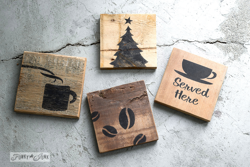 Coffee and Christmas tree themed reclaimed pallet wood coasters using Funky Junk's Old Sign Stencils | funkyjunkinteriors.net