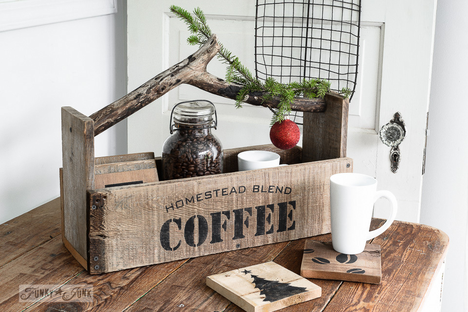 Reclaimed Wood Toolbox And Coasters For Coffee Loversfunky