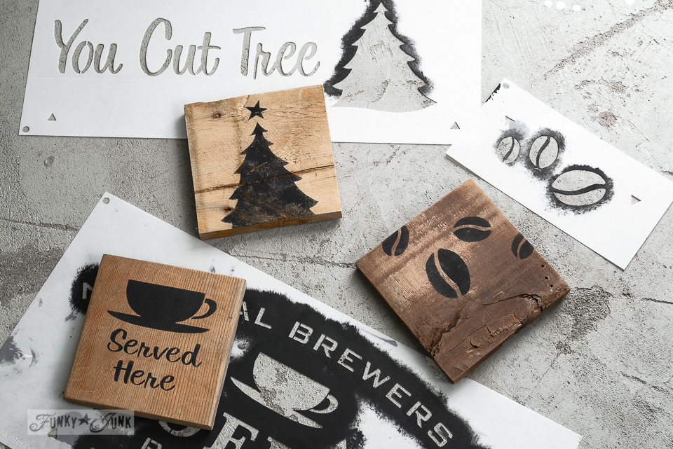 Learn how to make this reclaimed wood toolbox and coasters for coffee lovers, made with Homestead Blend Coffee stencil from Funky Junk's Old Sign Stencils! #oldsignstencils #toolbox #giftideas #coffeeprojects #coffee #stencils #coasters